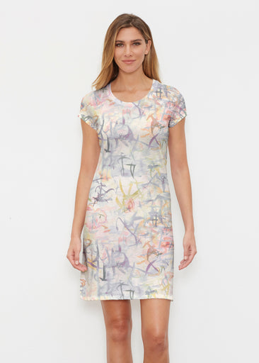 Floral Strokes Beige (7666) ~ Classic Crew Dress