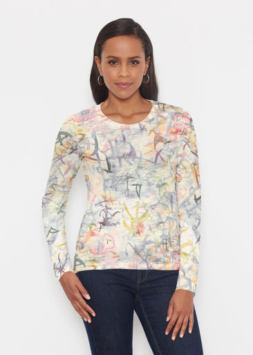 Floral Strokes Beige (7666) ~ Signature Long Sleeve Crew Shirt