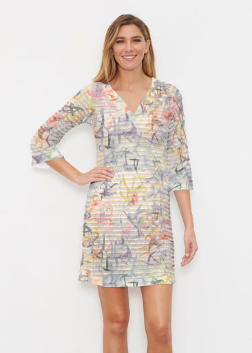 Floral Strokes Beige (7666) ~ Banded 3/4 Sleeve Cover-up Dress