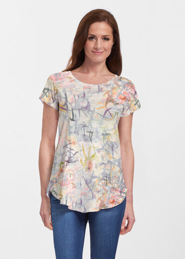 Floral Strokes Beige (7666) ~ Signature Short Sleeve Scoop Neck Flowy Tunic
