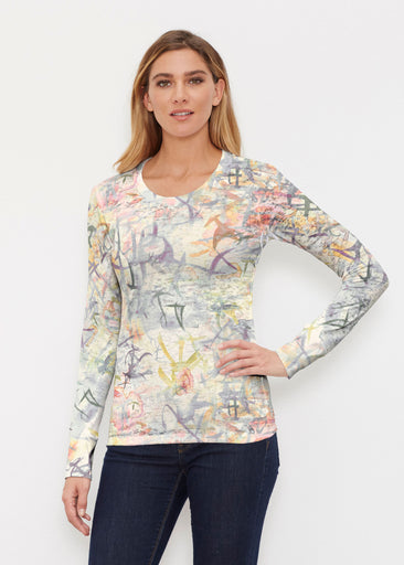 Floral Strokes Beige (7666) ~ Thermal Long Sleeve Crew Shirt