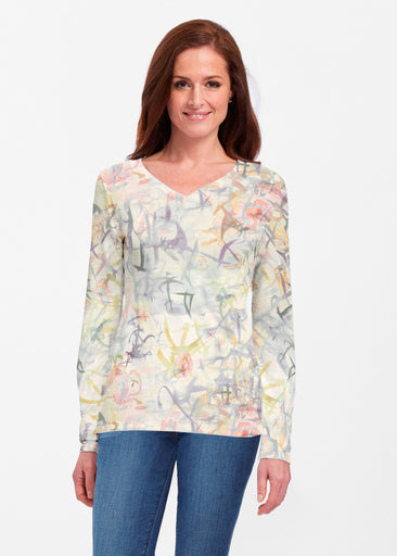 Floral Strokes Beige (7666) ~ Classic V-neck Long Sleeve Top