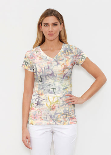 Floral Strokes Beige (7666) ~ Signature Cap Sleeve V-Neck Shirt