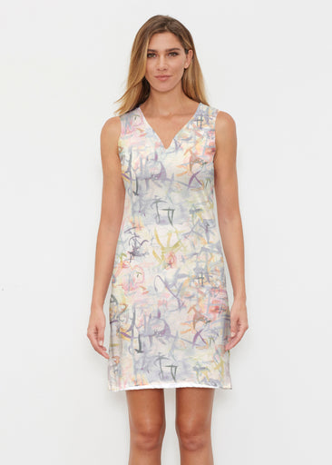 Floral Strokes Beige (7666) ~ Classic Sleeveless Dress