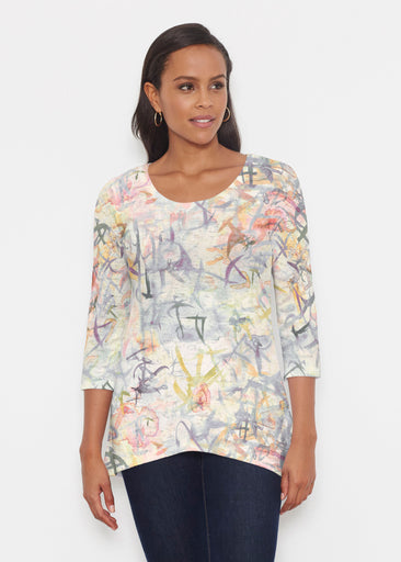 Floral Strokes Beige (7666) ~ Katherine Hi-Lo Thermal Tunic