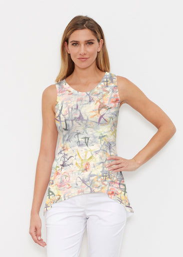 Floral Strokes Beige (7666) ~ High-low Tank