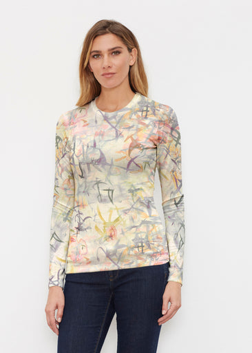 Floral Strokes Beige (7666) ~ Butterknit Long Sleeve Crew Top