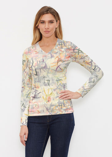 Floral Strokes Beige (7666) ~ Butterknit Long Sleeve V-Neck Top