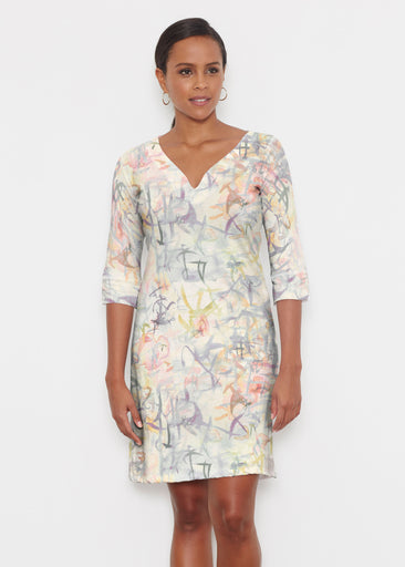 Floral Strokes Beige (7666) ~ Classic 3/4 Sleeve Sweet Heart V-Neck Dress
