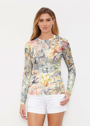 Floral Strokes Beige (7666) ~ Long Sleeve Rash Guard
