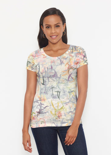 Floral Strokes Beige (7666) ~ Signature Short Sleeve Scoop Shirt
