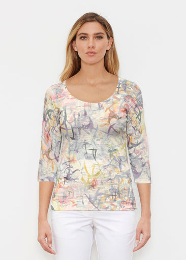 Floral Strokes Beige (7666) ~ Signature 3/4 Sleeve Scoop Shirt