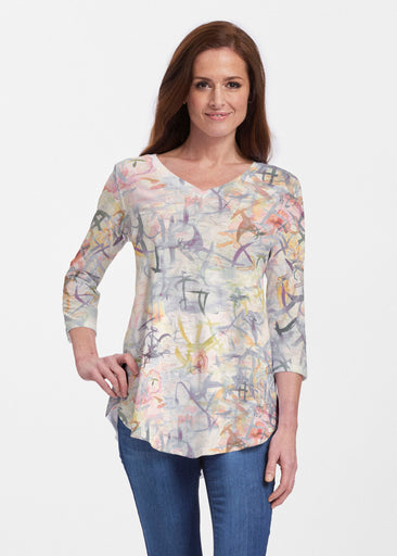 Floral Strokes Beige (7666) ~ V-neck Flowy Tunic