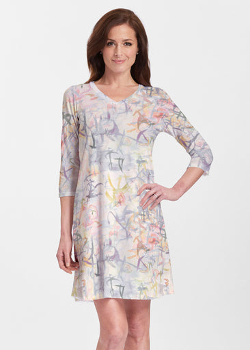 Floral Strokes Beige (7666) ~ Classic V-neck Swing Dress