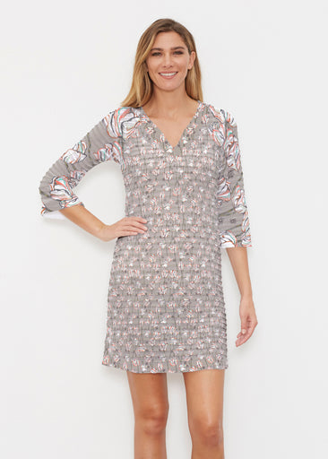 Tulips Multi Beige (7667) ~ Banded 3/4 Sleeve Cover-up Dress