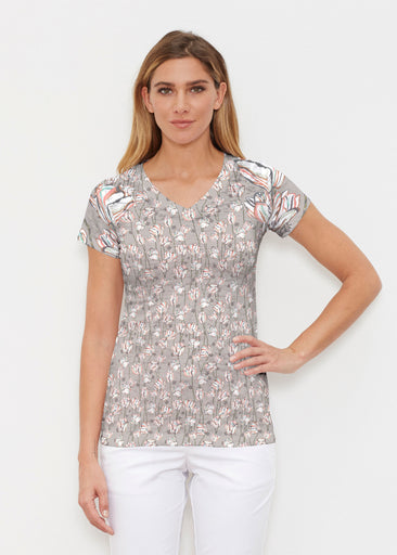Tulips Multi Beige (7667) ~ Signature Cap Sleeve V-Neck Shirt