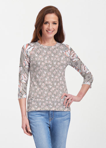Tulips Multi Beige (7667) ~ 3/4 Sleeve Crew