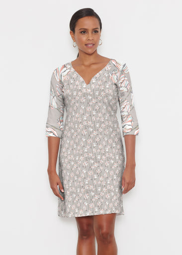 Tulips Multi Beige (7667) ~ Classic 3/4 Sleeve Sweet Heart V-Neck Dress