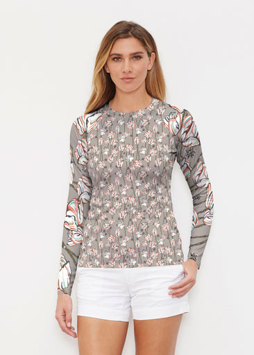Tulips Multi Beige (7667) ~ Long Sleeve Rash Guard