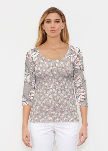Tulips Multi Beige (7667) ~ Signature 3/4 Sleeve Scoop Shirt