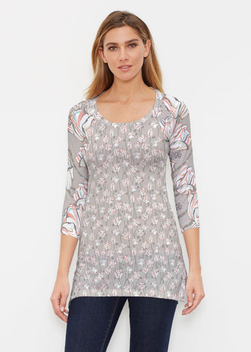 Tulips Multi Beige (7667) ~ Buttersoft 3/4 Sleeve Tunic