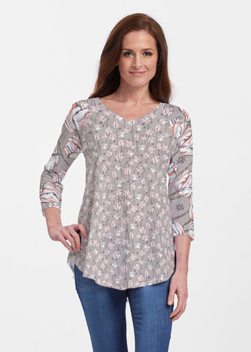 Tulips Multi Beige (7667) ~ Signature V-neck Flowy Tunic