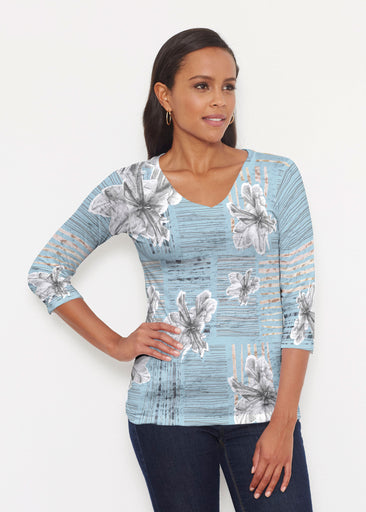 Iris Stripe Blue (7668) ~ Signature 3/4 V-Neck Shirt