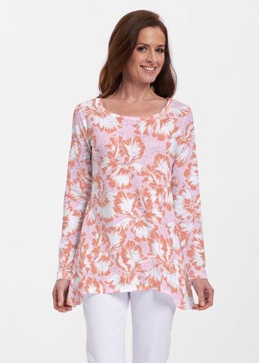 Graphic Floral Stripe Pink (7669) ~ Abigail Thermal Tunic