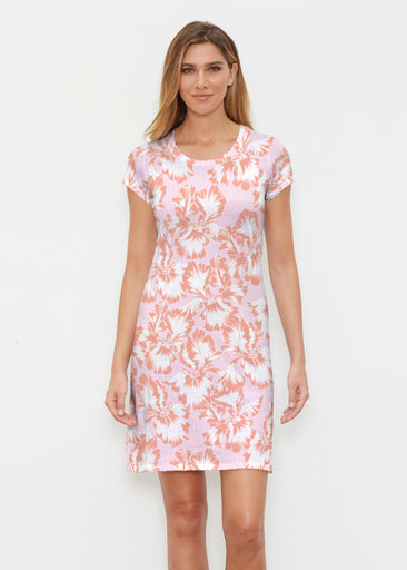 Graphic Floral Stripe Pink (7669) ~ Classic Crew Dress