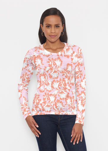 Graphic Floral Stripe Pink (7669) ~ Signature Long Sleeve Crew Shirt