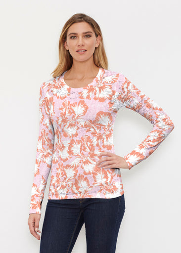 Graphic Floral Stripe Pink (7669) ~ Thermal Long Sleeve Crew Shirt