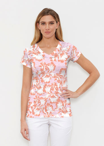Graphic Floral Stripe Pink (7669) ~ Signature Cap Sleeve V-Neck Shirt