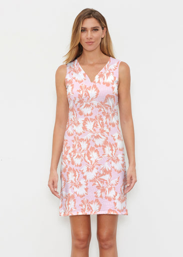 Graphic Floral Stripe Pink (7669) ~ Classic Sleeveless Dress