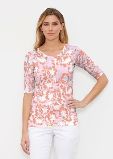Graphic Floral Stripe Pink (7669) ~ Elbow Sleeve Crew Shirt