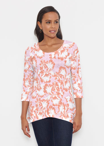 Graphic Floral Stripe Pink (7669) ~ Katherine Hi-Lo Thermal Tunic