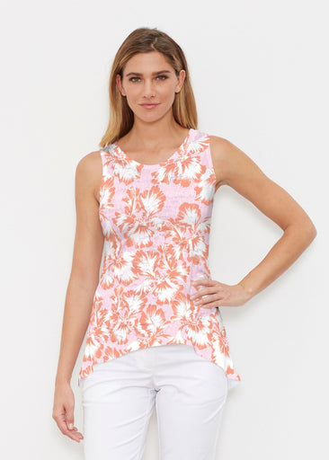 Graphic Floral Stripe Pink (7669) ~ High-low Tank