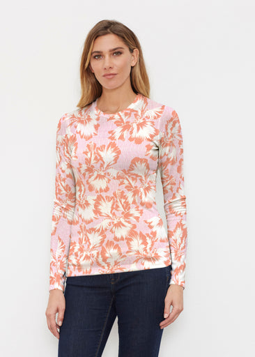 Graphic Floral Stripe Pink (7669) ~ Butterknit Long Sleeve Crew Top