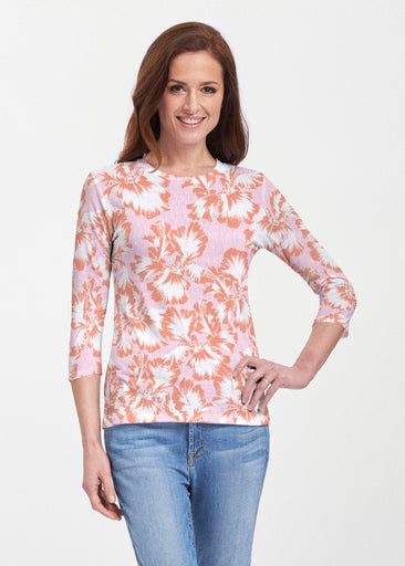 Graphic Floral Stripe Pink (7669) ~ 3/4 Sleeve Crew