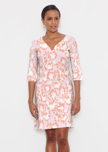 Graphic Floral Stripe Pink (7669) ~ Classic 3/4 Sleeve Sweet Heart V-Neck Dress