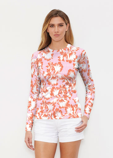 Graphic Floral Stripe Pink (7669) ~ Long Sleeve Rash Guard