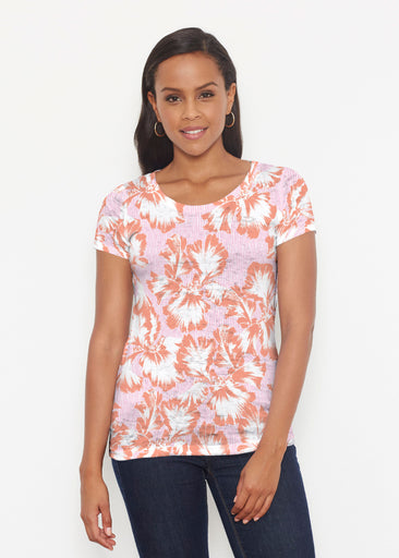 Graphic Floral Stripe Pink (7669) ~ Short Sleeve Scoop Shirt