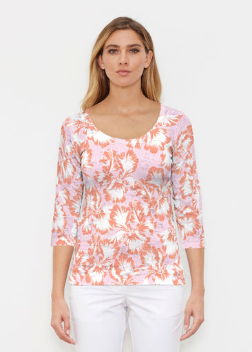 Graphic Floral Stripe Pink (7669) ~ Signature 3/4 Sleeve Scoop Shirt
