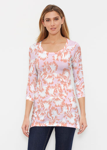 Graphic Floral Stripe Pink (7669) ~ Buttersoft 3/4 Sleeve Tunic