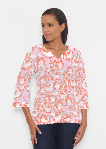 Graphic Floral Stripe Pink (7669) ~ Banded 3/4 Bell-Sleeve V-Neck Tunic