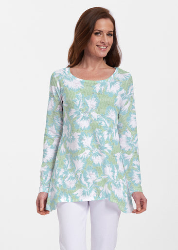 Graphic Floral Stripe Green (7670) ~ Abigail Thermal Tunic