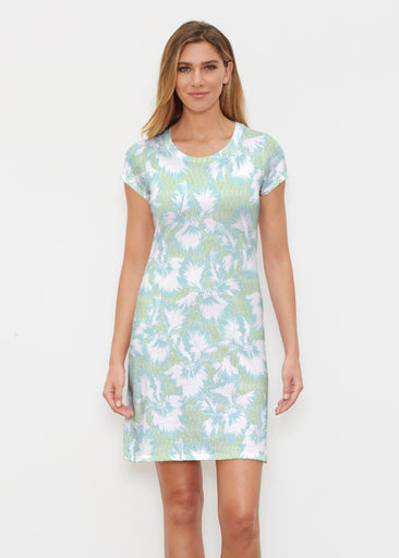 Graphic Floral Stripe Green (7670) ~ Classic Crew Dress