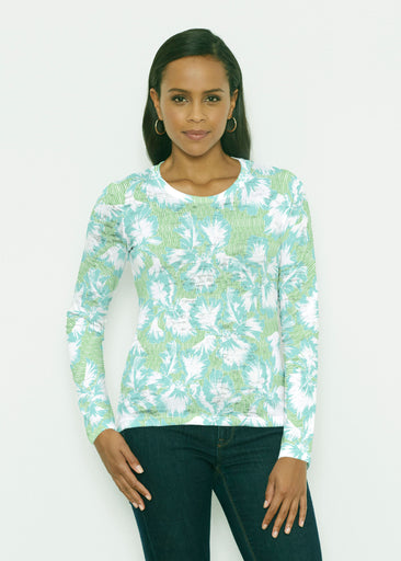 Graphic Floral Stripe Green (7670) ~ Signature Long Sleeve Crew Shirt