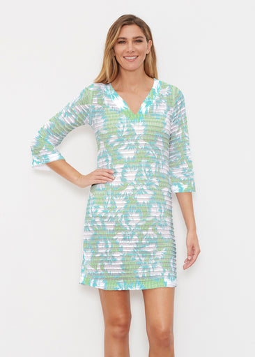 Graphic Floral Stripe Green (7670) ~ Banded 3/4 Sleeve Cover-up Dress