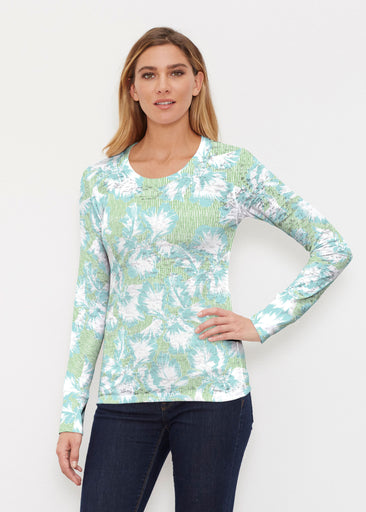 Graphic Floral Stripe Green (7670) ~ Thermal Long Sleeve Crew Shirt