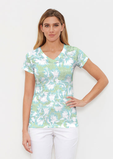Graphic Floral Stripe Green (7670) ~ Signature Cap Sleeve V-Neck Shirt